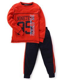 Smarty Full Sleeves T-Shirt & Track Pants - Red & Black