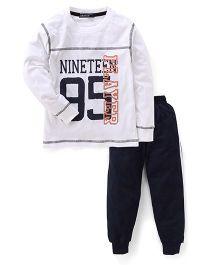Smarty Full Sleeves T-Shirt & Track Pants - White & Black