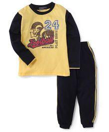 Smarty Full Sleeves T-Shirt & Track Pant Football Print - Yellow & Black