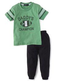 Smarty Half Sleeves T-Shirt & Track Pant Daddy's No 1 Champion Print Print - Green  & Black