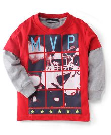 Smarty Doctor Sleeves T-Shirt MVP Print - Red