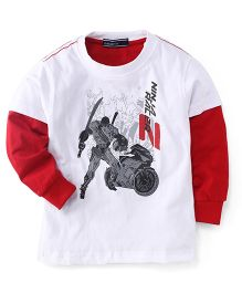 Smarty Doctor Sleeves Printed T-Shirt - White Red
