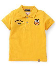 Smarty Half Sleeves Collar Neck T-Shirt Team UK Print - Yellow