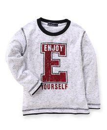 Smarty Full Sleeves T-Shirt Enjoy Yourself Print - Light Grey & Black