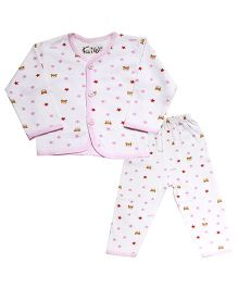 Kiwi Full Sleeves Nightwear Stars Print - White