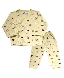 Kiwi Full Sleeves Nightwear Puppy Print - Yellow