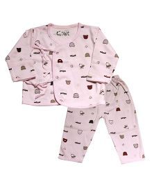 Kiwi Full Sleeves Nightwear Puppy Print - Pink
