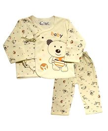 Kiwi Full Sleeves Nightwear Teddy Print - Light Yellow