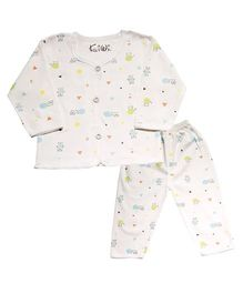 Kiwi Full Sleeves Nightwear Puppy Print - White