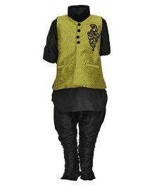 Needybee Churidar Kurta Pajama With Nehru Collar Jacket Set - Green & Black