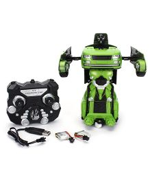 Turboz Remote Controlled Transforming City Car Cum Robot - Green Black