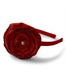 Pink Velvetz Peony Flower Hair Band - Red