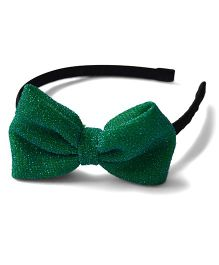 Pink Velvetz Glittery Bow Hair Band - Dark Green