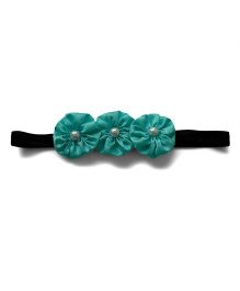 Pink Velvetz Flower With Pearl Applique Headband - Turquoise Green