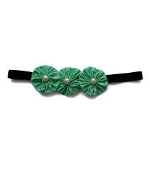 Pink Velvetz Flower With Pearl Applique Headband - Mint Green