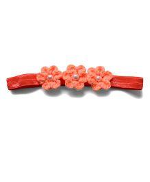 Pink Velvetz Crochet Flower Headband - Peach