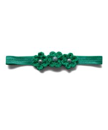 Pink Velvetz Crochet Flower Headband - Green