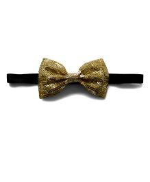Pink Velvetz Sequined Bow Headband - Golden