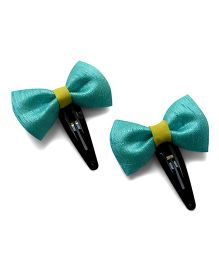 Pink Velvetz Bow Snap Clip - Turquoise
