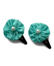 Pink Velvetz Flower With Pearl Applique Snap Clips - Turquoise Green