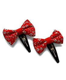 Pink Velvetz Floral Bow Hair Clip - Red