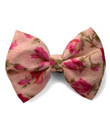 Pink Velvetz Floral Bow Alligator Hair Clip - Multicolour