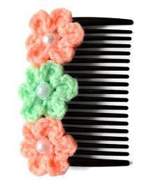Pink Velvetz Crochet Flower French Comb - Peach & Mint