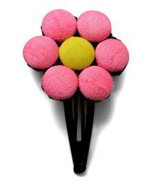Pink Velvetz Button Hair Clip - Pink & Yellow
