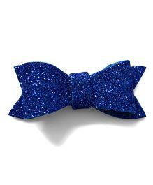 Pink Velvetz Glittery Felt Bow Alligator Clip - Navy Blue