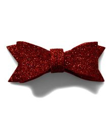 Pink Velvetz Glittery Felt Bow Alligator Clip - Red