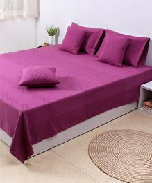 HouseThis Valley Of Flowers Flora Double Bedcover & 2 Pillow Covers - Purple
