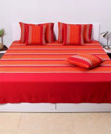 HouseThis The 70S Chevron Double Bedcover & 2 Pillow Covers - Red