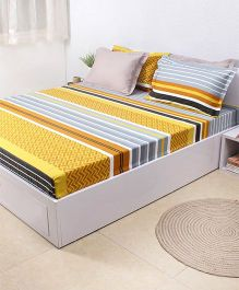 HouseThis The Urban Stripes 1 King Bed Sheet & 4 Pillow Covers - Yellow