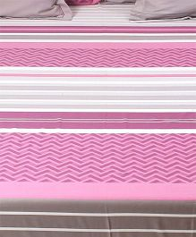 HouseThis The Urban Stripes 1 King Bed Sheet & 4 Pillow Covers - Purple