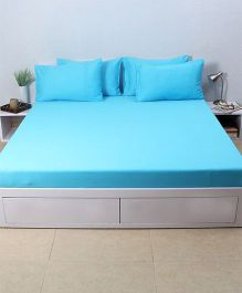 HouseThis Atoll Blue 1 King Bedsheet & 4 Pillow Covers - Blue