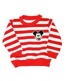 Kiwi Full Sleeves Sweatshirt Mickey Patch - Red White