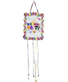 Funcart Happy Birthday Stripe Pull String Pinata - Multi Color