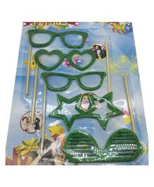 Funcart Glitter Eyeglasses Stick Party Prop Pack Of 5 - Green