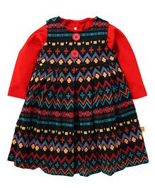 Yellow Duck Full Sleeves Inner Top With Frock - Red Black