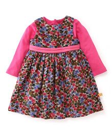 Yellow Duck Sleeveless Winter Frock With Inner Tee Floral Print - Pink