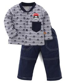 Wow Full Sleeves Front Open Top And Pant Set - Grey & Navy