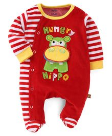 Wow Full Sleeves Romper Hippo Embroidery - Red
