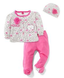 Wow Girl Full Sleeves Top Bootie Legging And Cap - Pink White