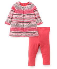 Mothercare Full Sleeves Top With Leggings - Coral