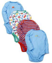 Mothercare Full Sleeves Printed Onesies Pack Of 4 - Multicolor