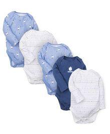 Mothercare Full Sleeves Polar Bear Print Bodysuit Pack Of 5 - Multicolor