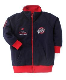 Olio Kids Full Sleeves Sweat Jacket Sport Embroidery - Blue
