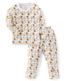Olio Kids Full Sleeves Night Suit Elephant Print -Yellow