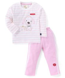 Olio Kids Full Sleeves Night Suit Puppy Embroidery - White Pink