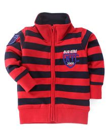 Olio Kids Full Sleeves Sweat Jacket With Fleece Lining - Red